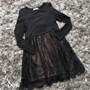Bailey 44 black mini dress size S lace beige C3